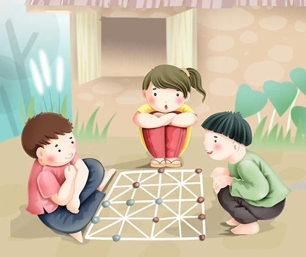 tranh vẽ trò chơi dân gian chơi cờ