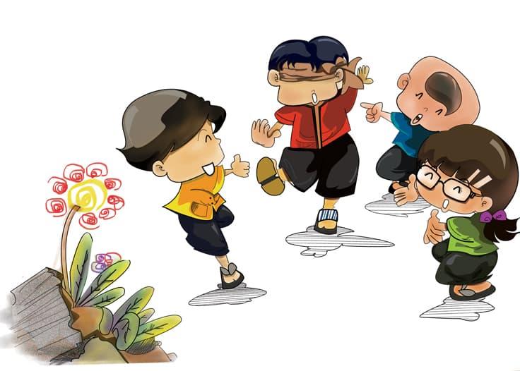 tranh vẽ trò chơi dân gian nhảy lò cò