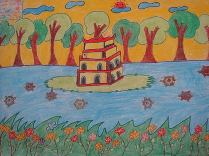 vẽ tranh hồ gươm tháp rùa