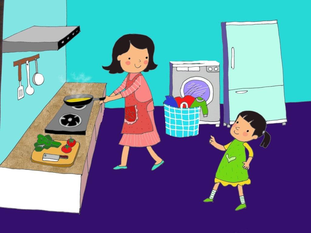 vẽ tranh mẹ của em đang nấu cơm