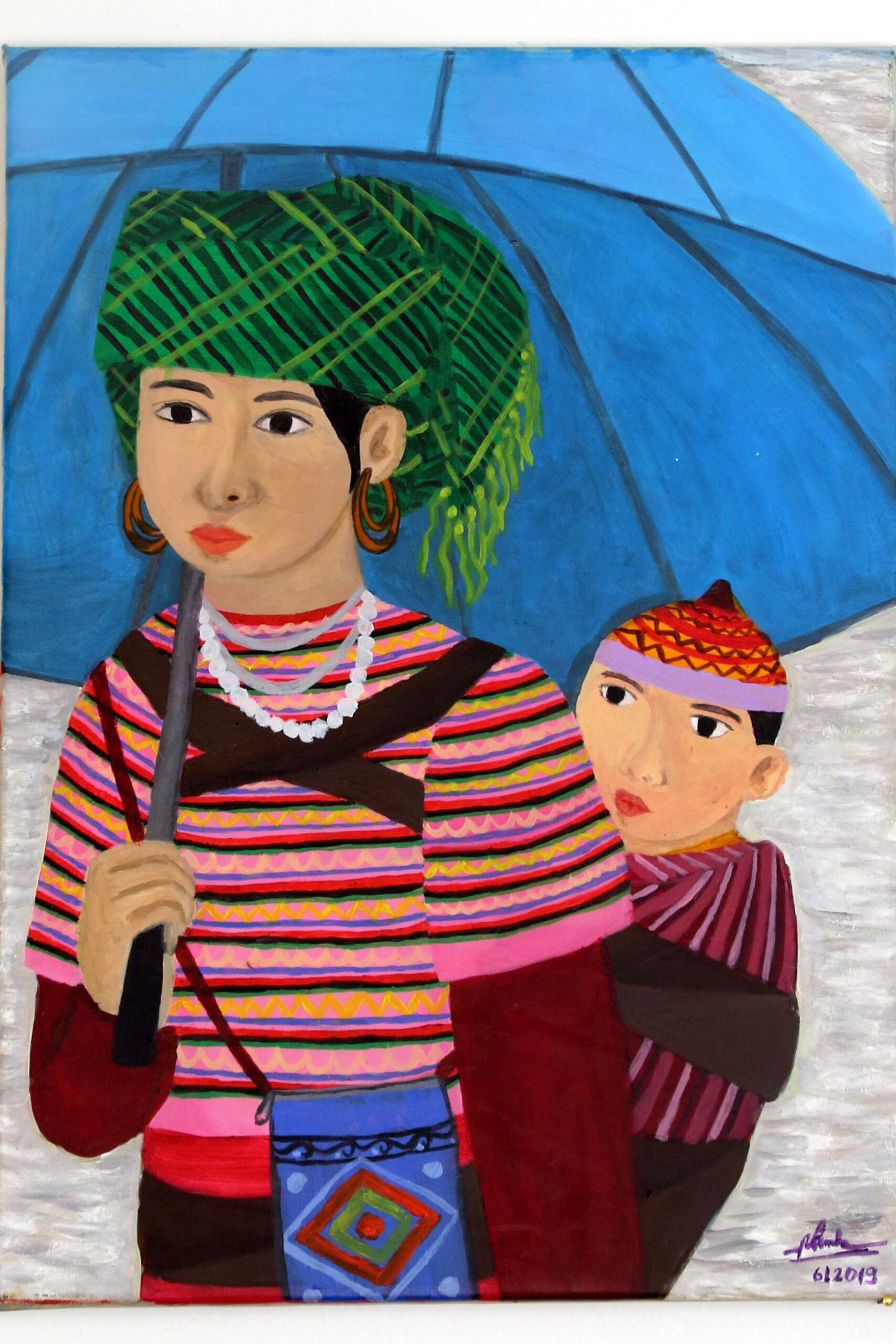 vẽ tranh mẹ dịu em bé của người vùng cao