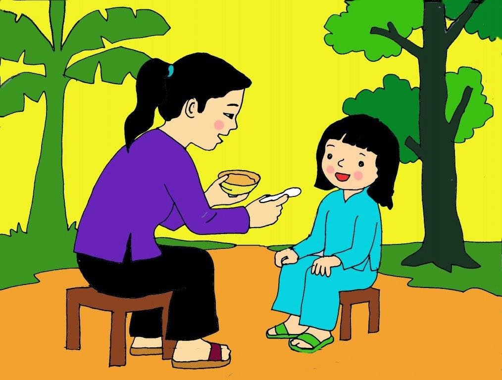 vẽ tranh mẹ đút cơm cho bé ăn