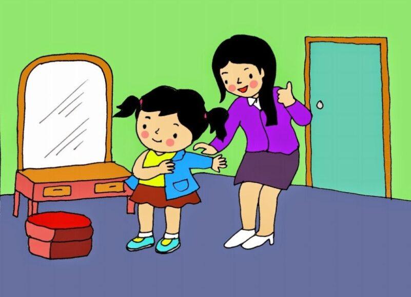 vẽ tranh mẹ giúp bé thay quần áo trước khi đi học