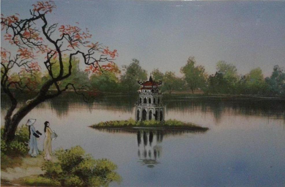 vẽ tranh phong cảnh hồ gươm
