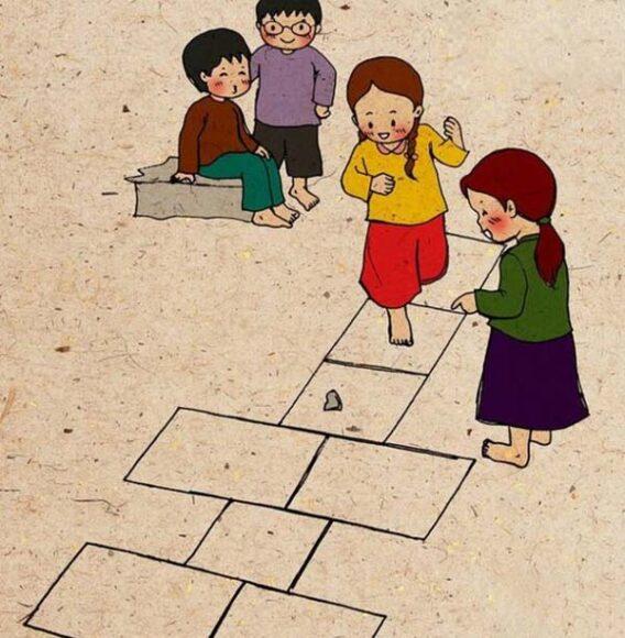 vẽ tranh trò chơi dân gian nhảy ô