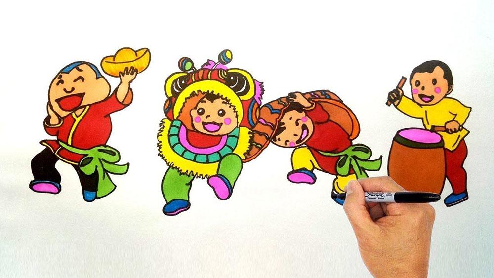 vẽ tranh trung thu múa lân múa rồng