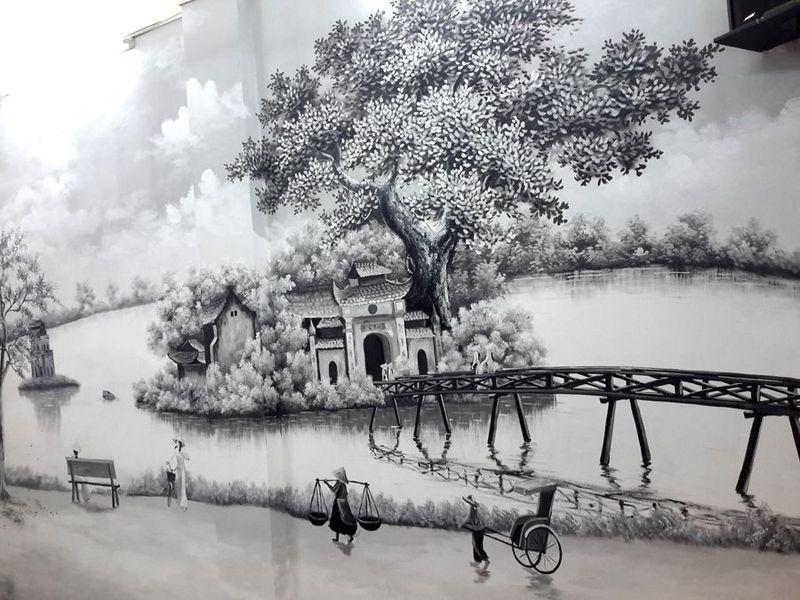 vẽ tranh về hà nội đen trắng