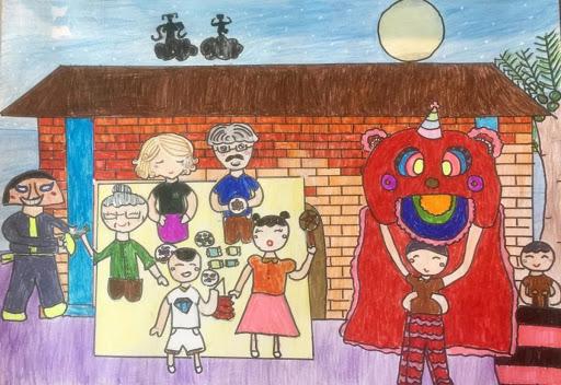 vẽ tranh về lễ hội trung thu của bé
