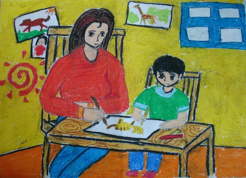vẽ tranh về mẹ cùng bé học vẽ tranh tập tô màu