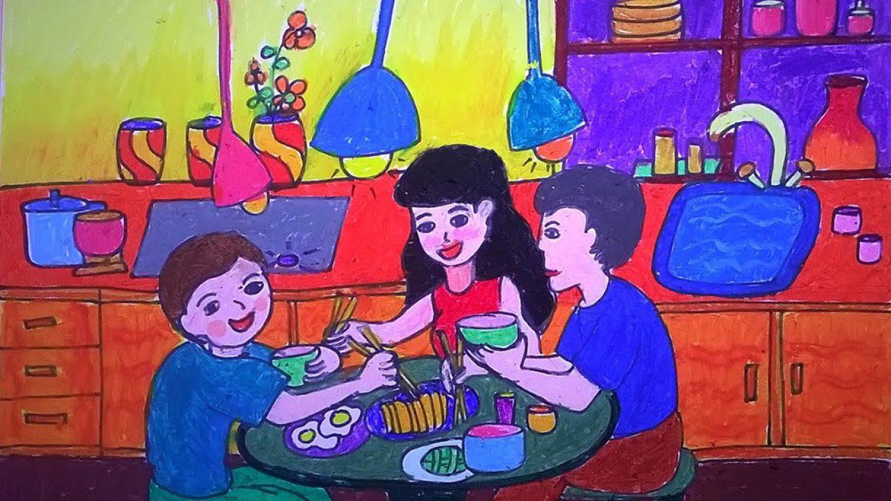 vẽ tranh về mẹ khi cả gia đình cùng ăn cơm