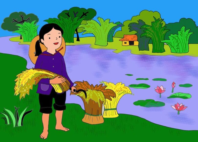 vẽ tranh về mẹ vất vả tần tảo đi gặt lúa