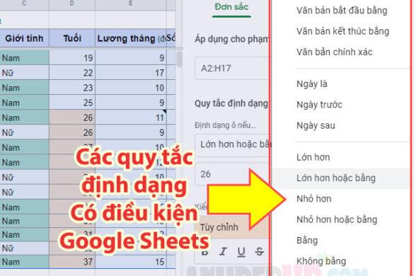 các quy tắc định dạng có điều kiện trong google sheets