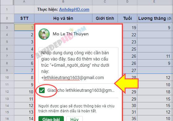 cách bàn giao công việc trong google sheets