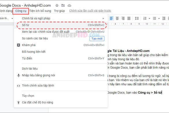 cách bật tính năng đếm số từ trong Google Docs