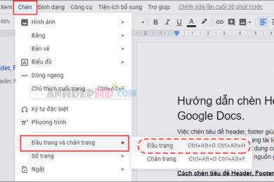 cách chèn tiêu đề đầu trang và chân trang cho tài liệu google docs
