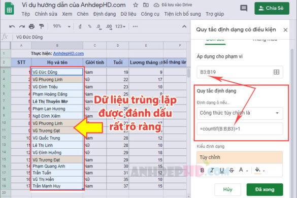 cách lọc dữ liệu trùng lặp trong bảng tính google sheets
