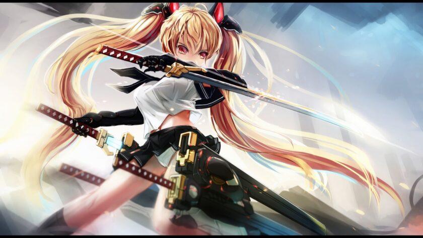 Hình ảnh anime cá tính cô gái cầm hai thanh kiếm