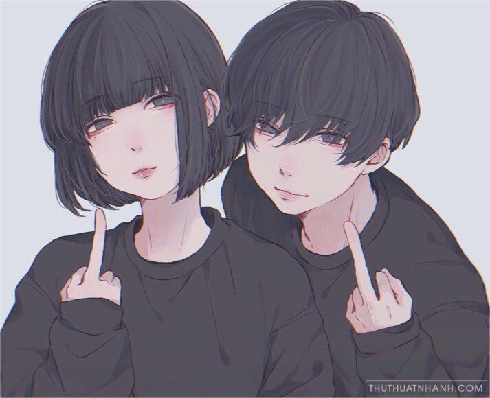ảnh avatar cặp đen anime