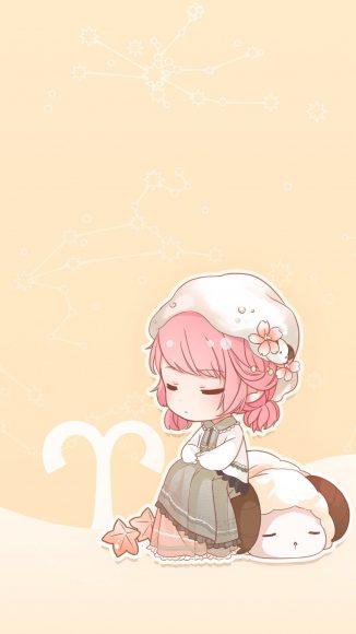 ảnh cung Bạch Dương - cô bé tóc hồng cùng biều tượng chú cừu