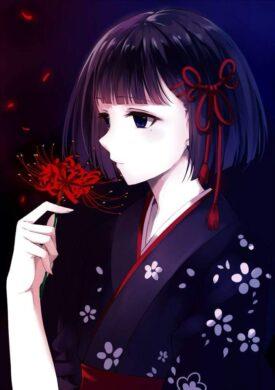 ảnh đại diện avt anime lạnh lùng với hoa bỉ ngạn