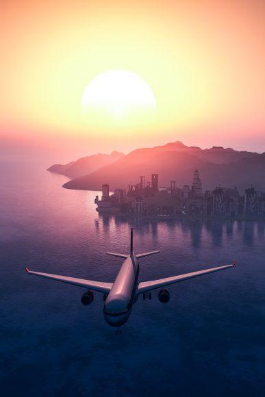 ảnh hoàng hôn buồn và chiếc máy bay