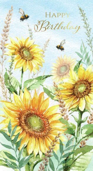 ảnh lời chúc mừng sinh nhật cùng hình vẽ hoa hướng dương rực rỡ