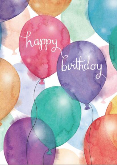 ảnh lời chúc sinh nhật được viết trên bóng bay nhiều màu