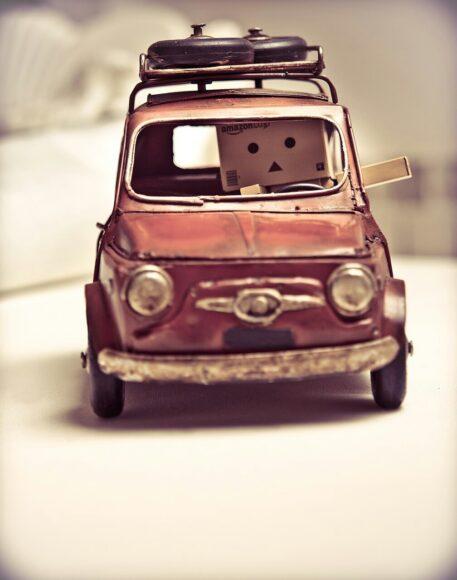 ảnh người gỗ lái xe ô tô