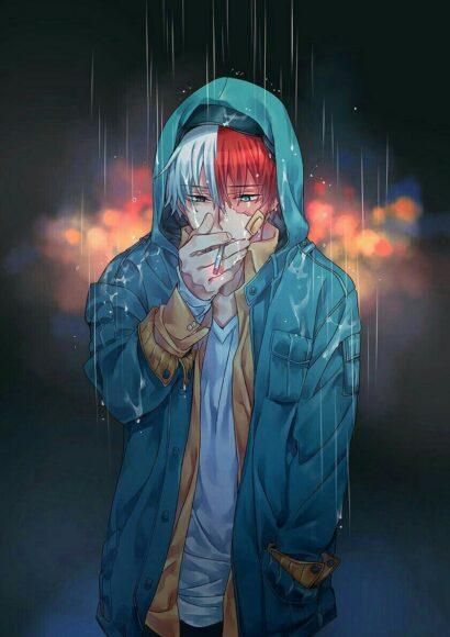 Hình ảnh anime boy cô đơn hút thuốc trong mưa