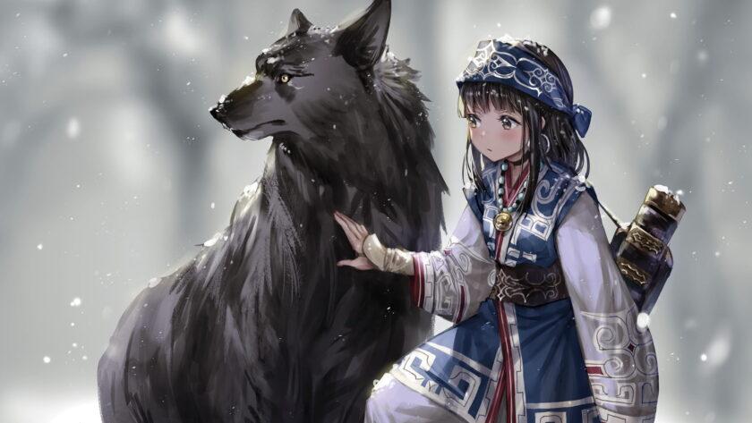 Hình ảnh anime cô bé mùa đông và sói tuyết