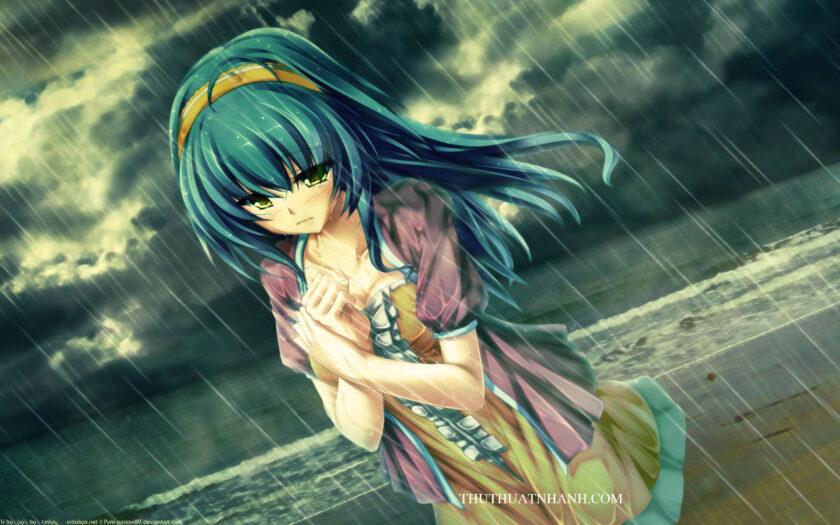 Hình ảnh anime cô đơn buồn trong mưa
