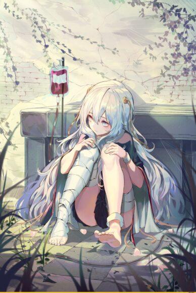 Hình ảnh anime cô đơn cô gái tóc trắng dài
