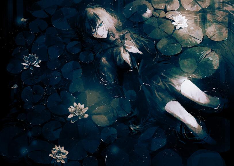 Hình ảnh anime cô đơn cô gái trong đầm sen