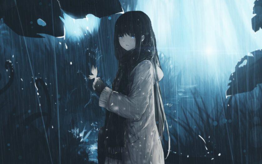 Hình ảnh anime cô đơn cô gái trong mưa