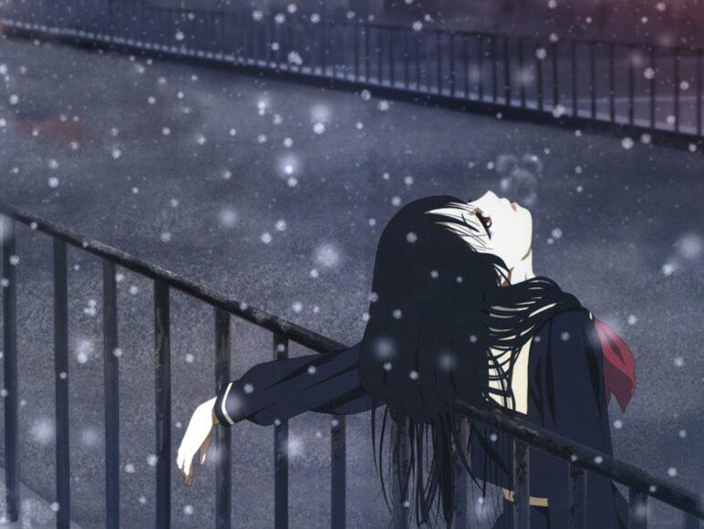 Hình ảnh anime cô đơn cô gái trong tuyết