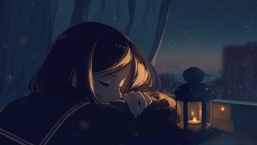 Hình ảnh anime cô đơn gục đầu bên khung cửa sổ