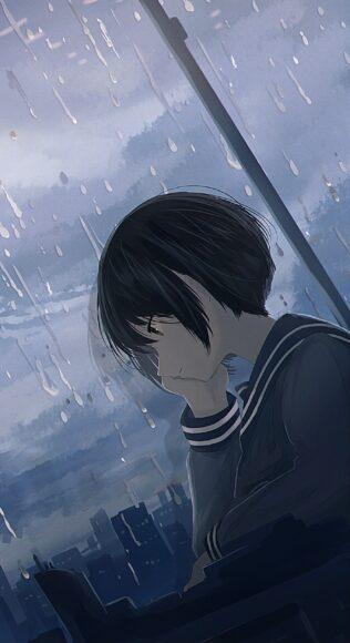 Hình ảnh anime cô đơn trời mưa
