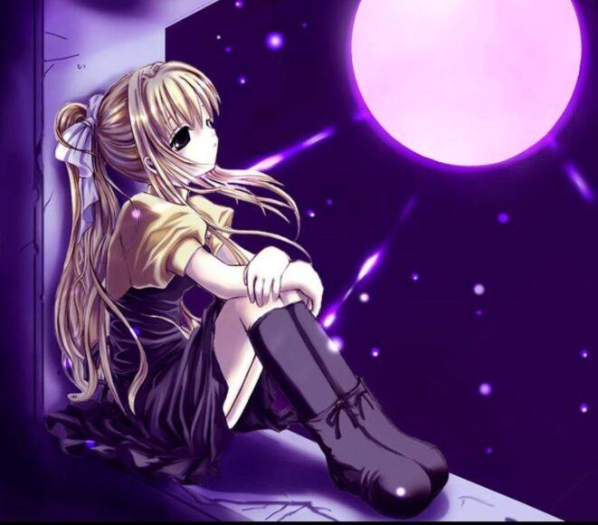 Hình ảnh anime cô gái cô đơn bên cửa sổ