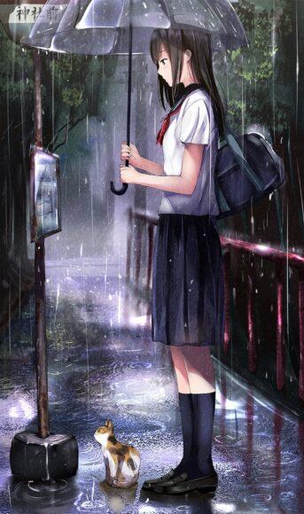 Hình ảnh anime cô gái cô đơn và chú mèo