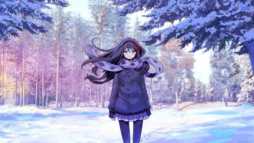 Hình ảnh anime cô gái mùa đông cô đơn