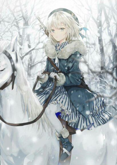 Hình ảnh anime cô gái mùa đông cưỡi ngựa