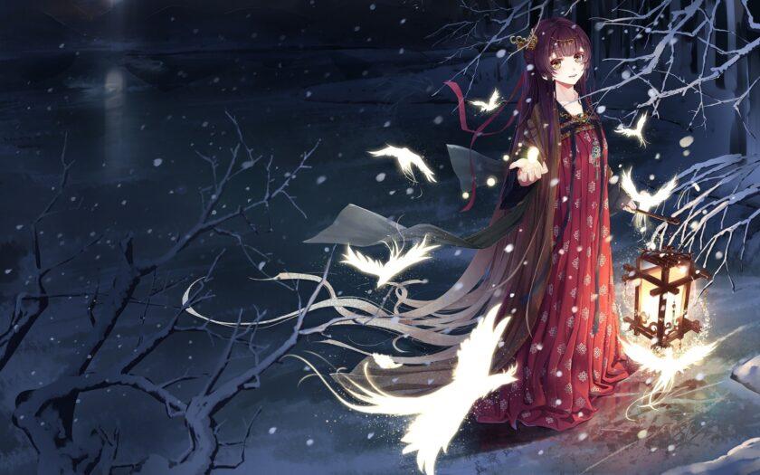 Hình ảnh anime cô gái mùa đông lạnh giá