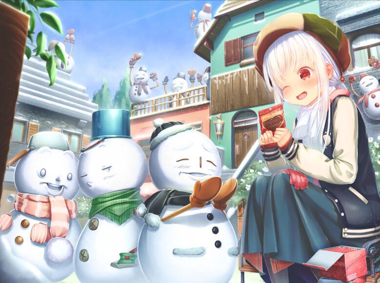 Hình ảnh anime cô gái mùa đông và người tuyết