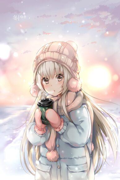 Hình ảnh anime cô gái mùa đông xinh đẹp