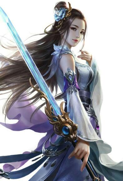 hình ảnh anime cổ trang girl xinh đẹp cầm kiếm