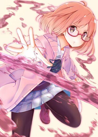 Hình ảnh anime girl đeo kính tóc ngắn chiến đấu