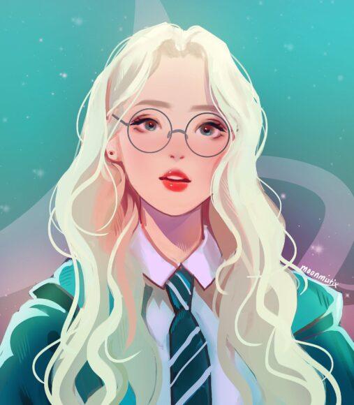Hình ảnh anime girl đeo kính tóc trắng xinh