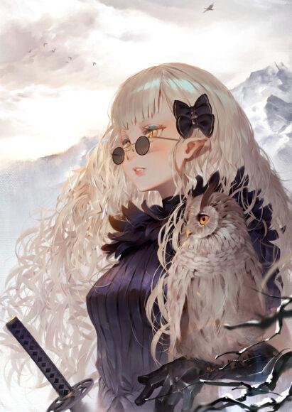 hình ảnh anime girl đeo kính tròn ngầu lạnh lùng