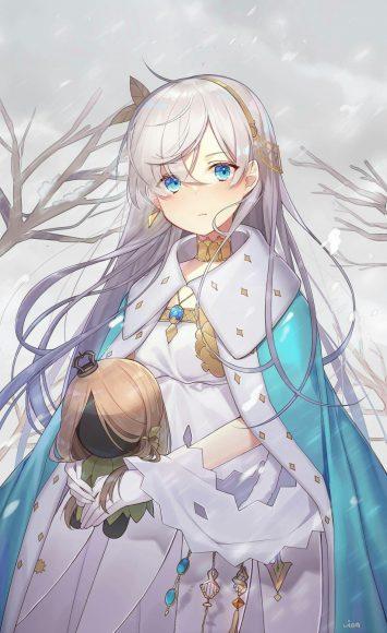Hình ảnh anime girl tóc bạch kim buồn