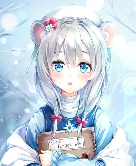 Hình ảnh anime girl tóc bạch kim cute xinh xắn